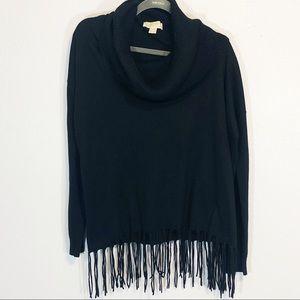 Michael Kors black cowl lack fringe sweater size L